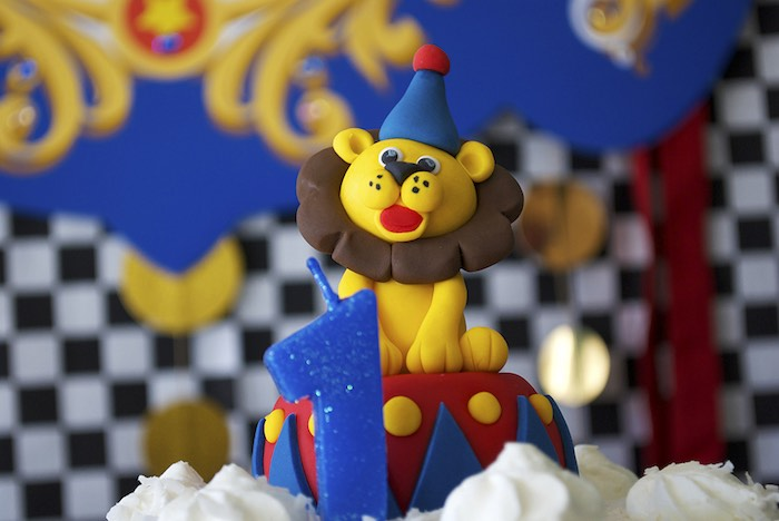 Lion Cake Topper from a Vintage Luxe Circus Birthday Party on Kara's Party Ideas | KarasPartyIdeas.com (9)