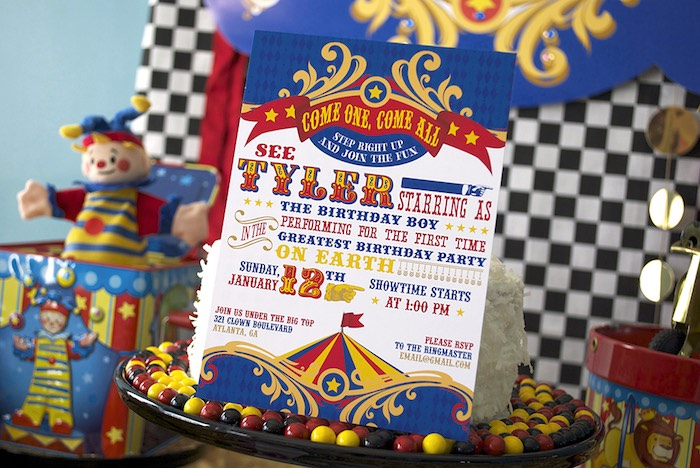 Circus Party Invite from a Vintage Luxe Circus Birthday Party on Kara's Party Ideas | KarasPartyIdeas.com (6)