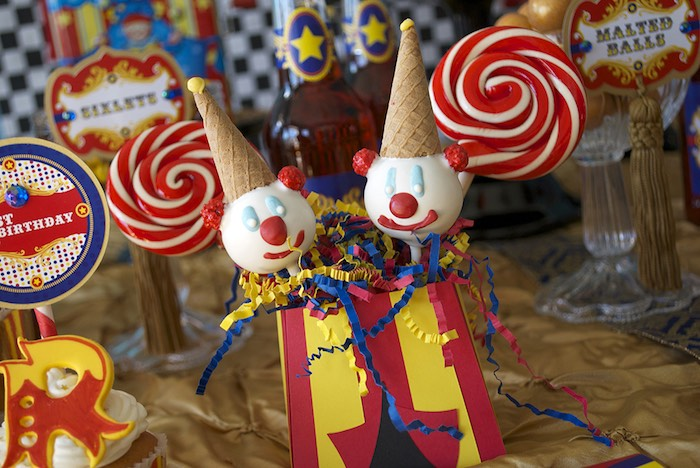 Clown Cake Pops from a Vintage Luxe Circus Birthday Party on Kara's Party Ideas | KarasPartyIdeas.com (26)