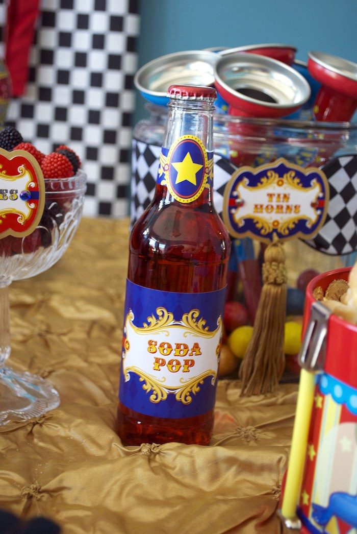 Soda Pop from a Vintage Luxe Circus Birthday Party on Kara's Party Ideas | KarasPartyIdeas.com (23)
