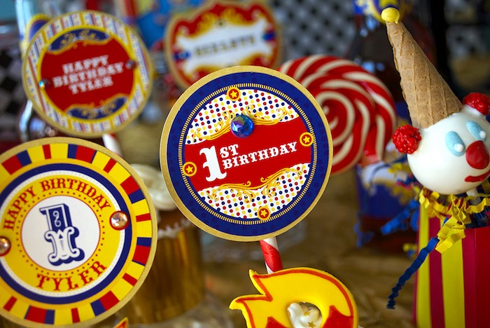 Circus Themed Cupcake Toppers from a Vintage Luxe Circus Birthday Party on Kara's Party Ideas | KarasPartyIdeas.com (21)