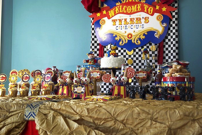 Circus Themed Dessert Table from a Vintage Luxe Circus Birthday Party on Kara's Party Ideas | KarasPartyIdeas.com (19)