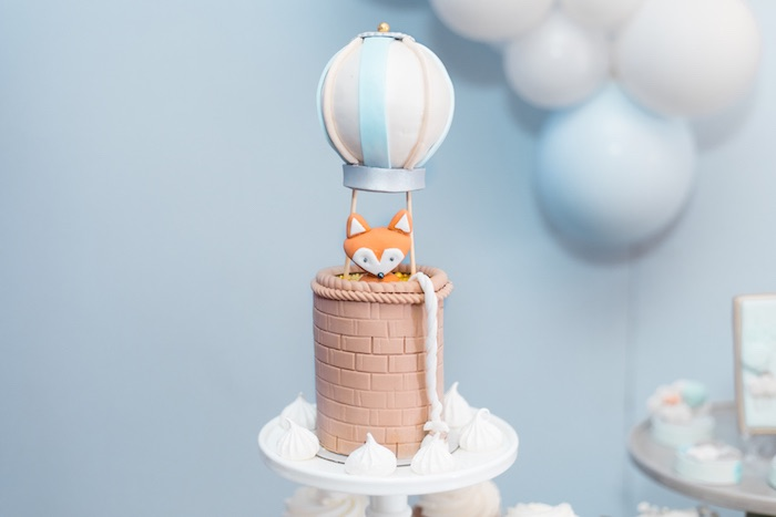 Mini Hot Air Balloon Fox Cake from a Woodland Animal Hot Air Balloon Birthday Party on Kara's Party Ideas | KarasPartyIdeas.com (23)