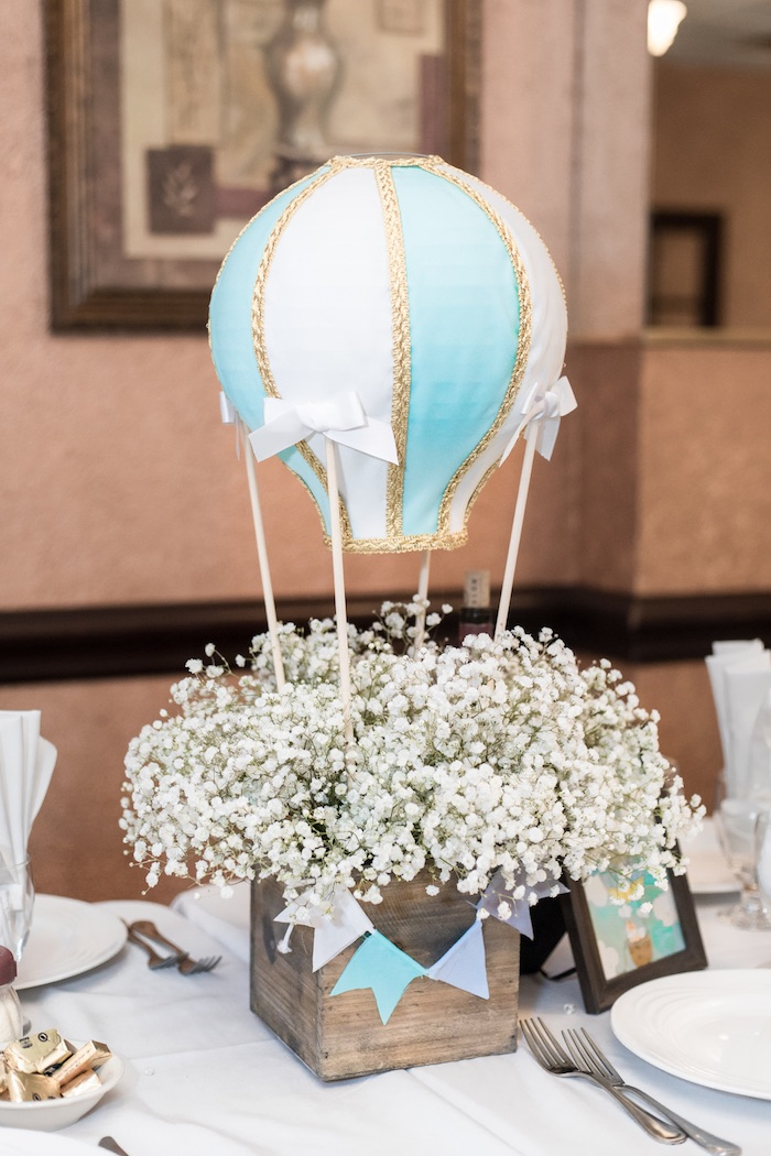 Hot Air Balloon Floral Table Centerpiece from a Woodland Animal Hot Air Balloon Birthday Party on Kara's Party Ideas | KarasPartyIdeas.com (35)