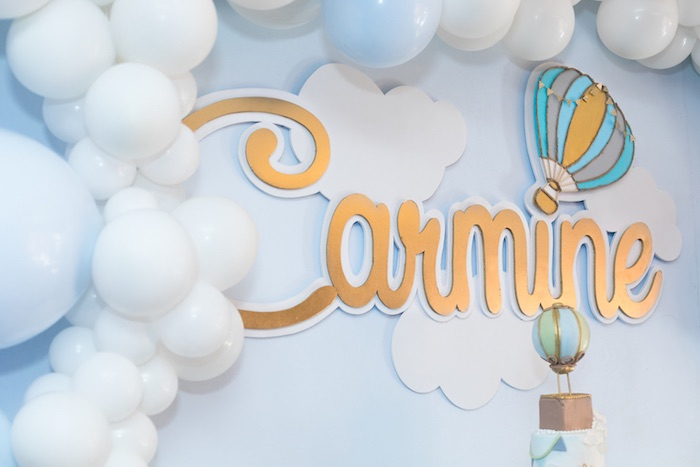 Cloud + Balloon Backdrop from a Woodland Animal Hot Air Balloon Birthday Party on Kara's Party Ideas | KarasPartyIdeas.com (10)