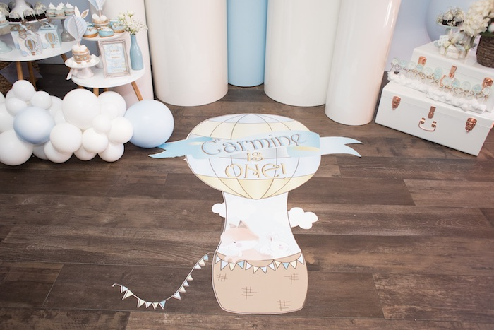 Hot Air Balloon Floor Signage from a Woodland Animal Hot Air Balloon Birthday Party on Kara's Party Ideas | KarasPartyIdeas.com (8)