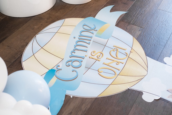 Hot Air Balloon Floor Signage from a Woodland Animal Hot Air Balloon Birthday Party on Kara's Party Ideas | KarasPartyIdeas.com (5)