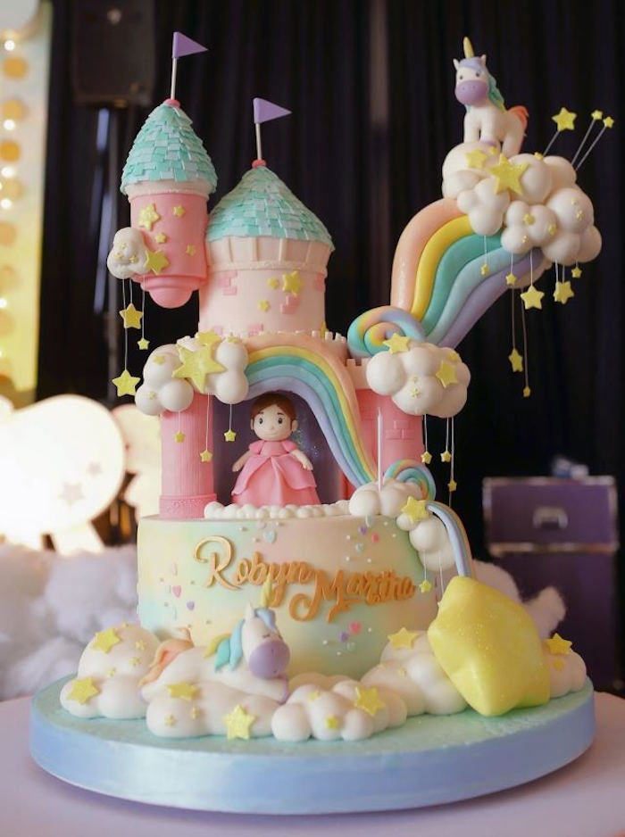 Cake from a Dreamy Princess Birthday Party on Kara's Party Ideas | KarasPartyIdeas.com