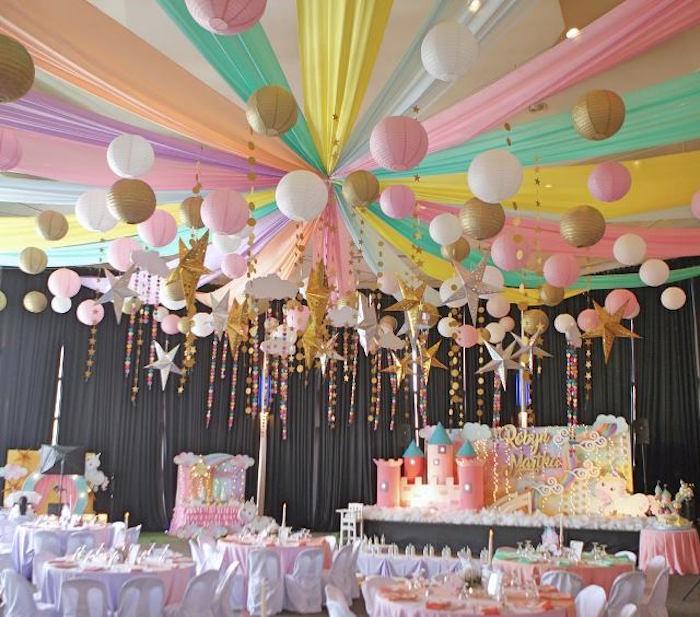 Ceiling from a Dreamy Princess Birthday Party on Kara's Party Ideas | KarasPartyIdeas.com