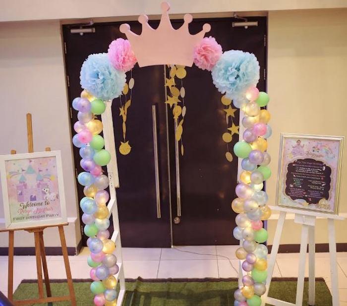 Entrance from a Dreamy Princess Birthday Party on Kara's Party Ideas | KarasPartyIdeas.com