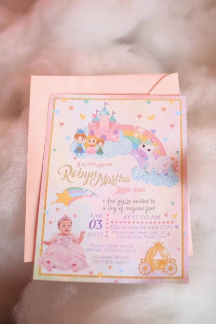 Invites from a Dreamy Princess Birthday Party on Kara's Party Ideas | KarasPartyIdeas.com