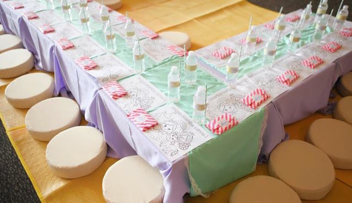 Kids table from a Dreamy Princess Birthday Party on Kara's Party Ideas | KarasPartyIdeas.com