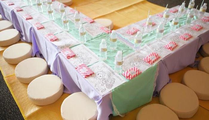Kids table from a Dreamy Princess Birthday Party on Kara's Party Ideas | KarasPartyIdeas.com