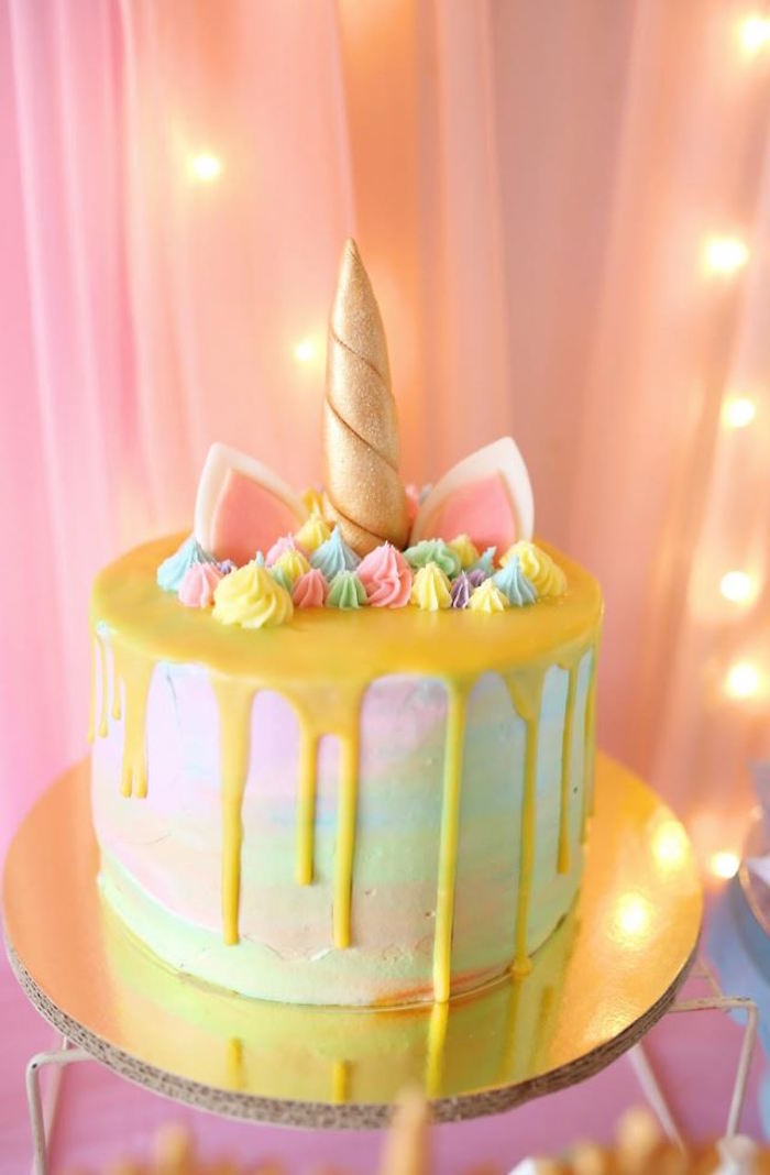 Unicorn Cake from a Dreamy Princess Birthday Party via Kara's Party Ideas | KarasPartyIdeas.com