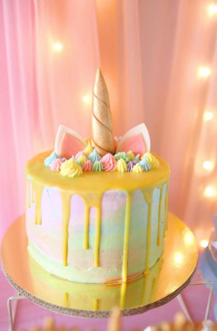 Unicorn Cake from a Dreamy Princess Birthday Party via Kara's Party Ideas | KarasPartyIdeas.com