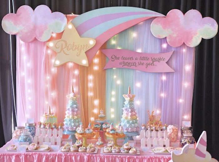 Dessert Table from a Dreamy Princess Birthday Party on Kara's Party Ideas | KarasPartyIdeas.com