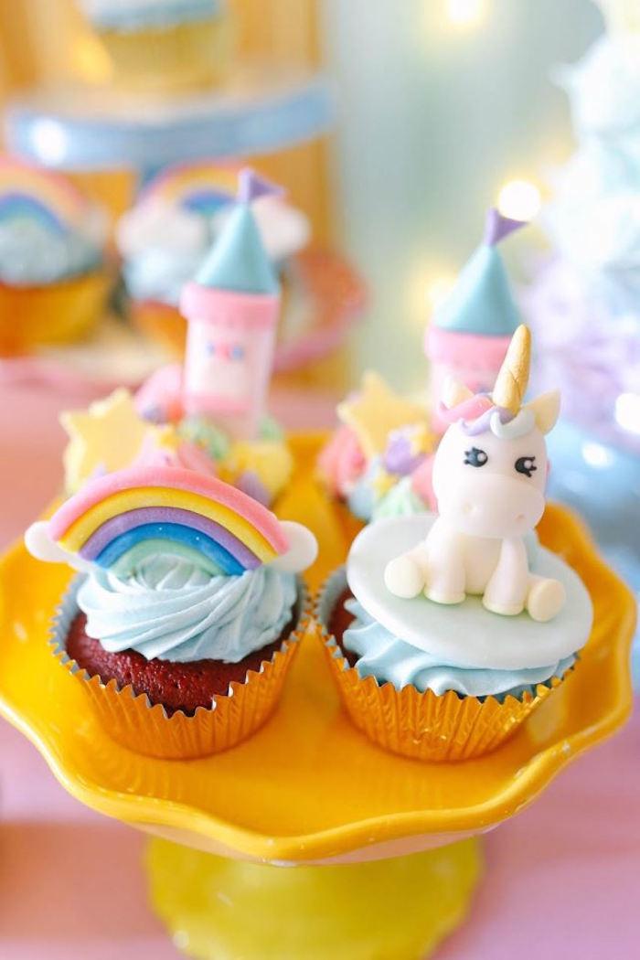 Cupcakes from a Dreamy Princess Birthday Party on Kara's Party Ideas | KarasPartyIdeas.com