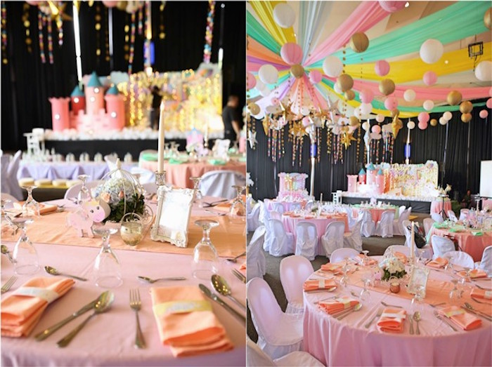 Guest table from a Dreamy Princess Birthday Party on Kara's Party Ideas | KarasPartyIdeas.com