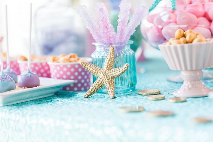 """Rock Candy Sticks from a """"Let's be Mermaids"""" Birthday Party on Kara's Party Ideas 