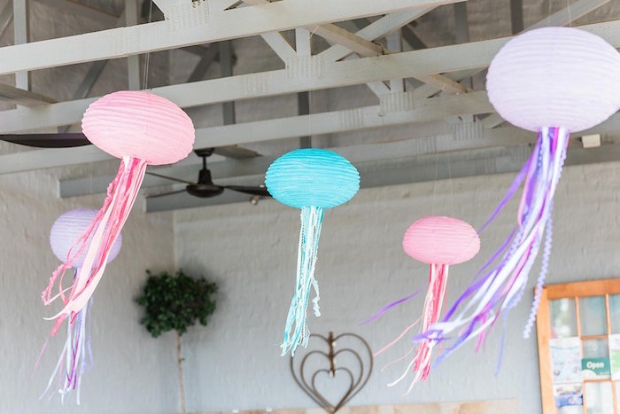"""Paper Lantern Jellyfish from a """"Let's be Mermaids"""" Birthday Party on Kara's Party Ideas 