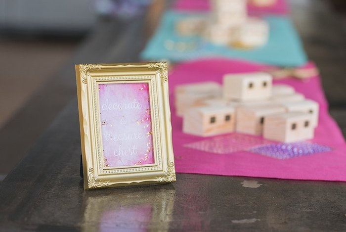 """Treasure Chest Decorating Activity from a """"Let's be Mermaids"""" Birthday Party on Kara's Party Ideas 
