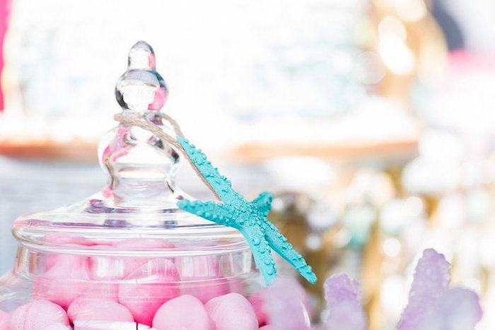 """Starfish-adorned Candy Jar from a """"Let's be Mermaids"""" Birthday Party on Kara's Party Ideas 