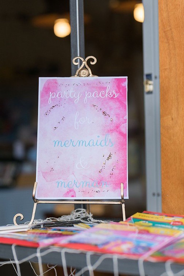 """Favor Table + Signage from a """"Let's be Mermaids"""" Birthday Party on Kara's Party Ideas 
