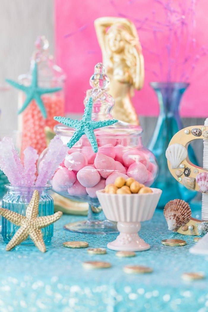 """Starfish Sweet Buffet from a """"Let's be Mermaids"""" Birthday Party on Kara's Party Ideas 