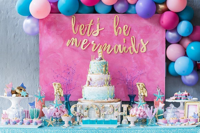 """Mermaid Dessert Table from a """"Let's be Mermaids"""" Birthday Party on Kara's Party Ideas 