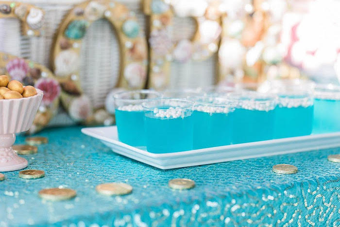 """Under the Sea Jello Cups from a """"Let's be Mermaids"""" Birthday Party on Kara's Party Ideas 
