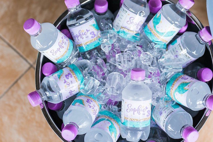 """Water Bottles from a """"Let's be Mermaids"""" Birthday Party on Kara's Party Ideas 