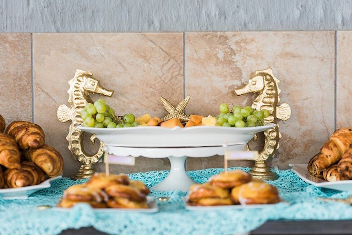"""Seahorse Food Table from a """"Let's be Mermaids"""" Birthday Party on Kara's Party Ideas 