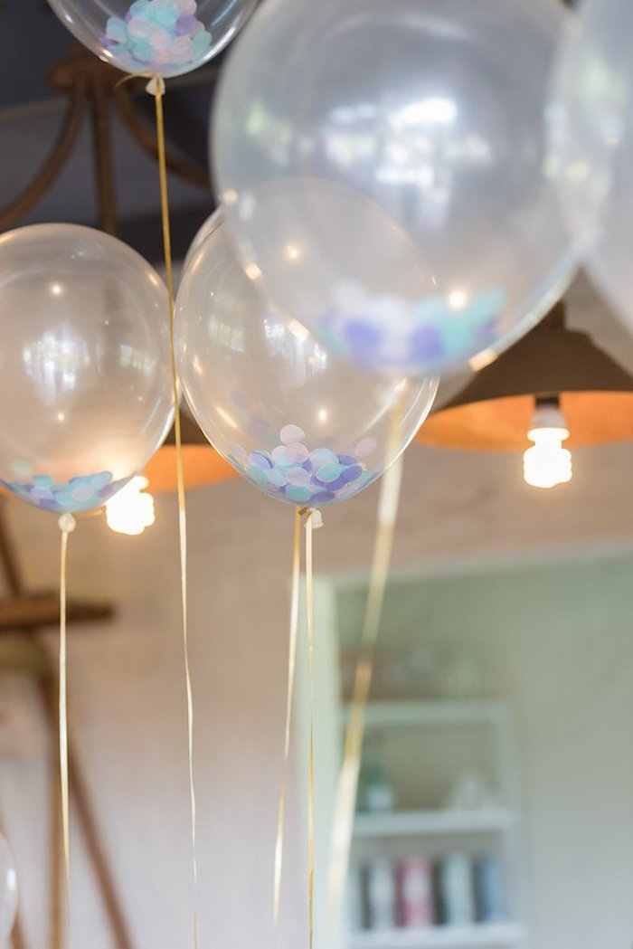 """Clear Confetti Balloons from a """"Let's be Mermaids"""" Birthday Party on Kara's Party Ideas 