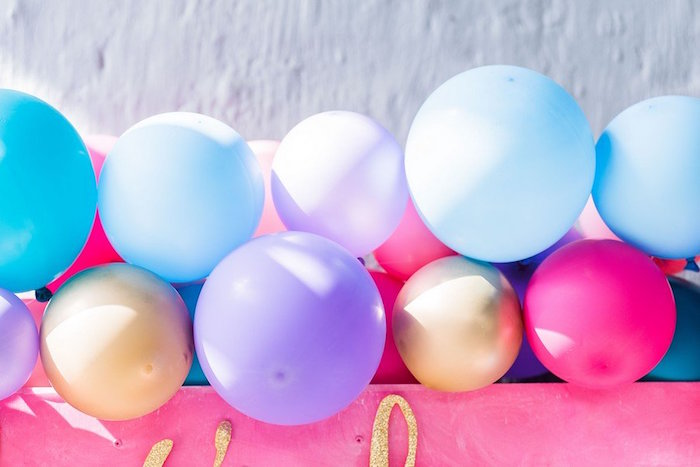 """Balloon Garland from a """"Let's be Mermaids"""" Birthday Party on Kara's Party Ideas 