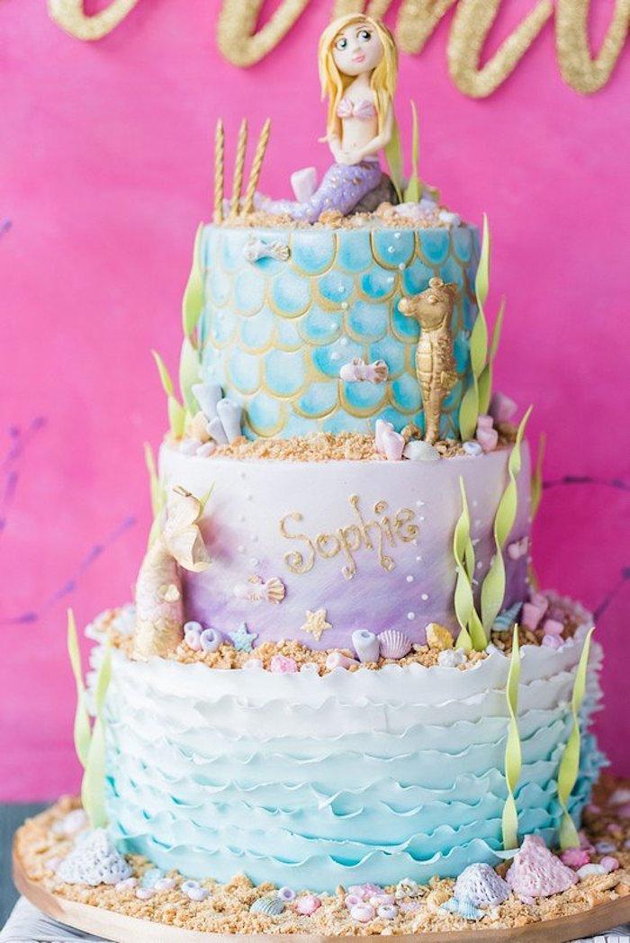"Mermaid Cake from a ""Let's be Mermaids"" Birthday Party on Kara's Party Ideas | KarasPartyIdeas.com (19)"