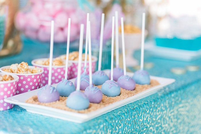 """Under the Sea Mermaid Cake Pops from a """"Let's be Mermaids"""" Birthday Party on Kara's Party Ideas 