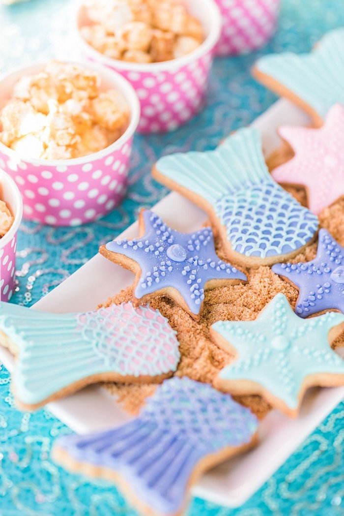 """Mermaid Cookies from a """"Let's be Mermaids"""" Birthday Party on Kara's Party Ideas 