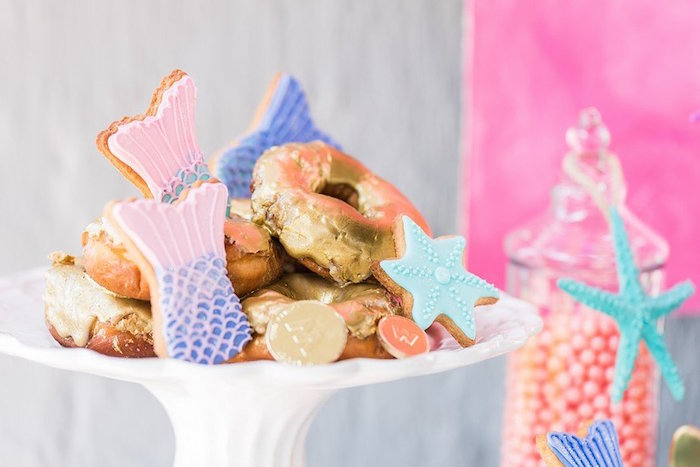 """Cookies and Doughnuts from a """"Let's be Mermaids"""" Birthday Party on Kara's Party Ideas 