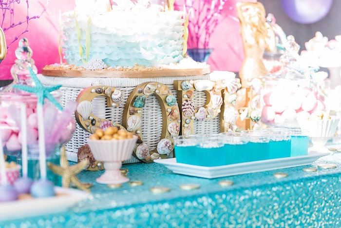 """Seashell Lettering from a """"Let's be Mermaids"""" Birthday Party on Kara's Party Ideas 