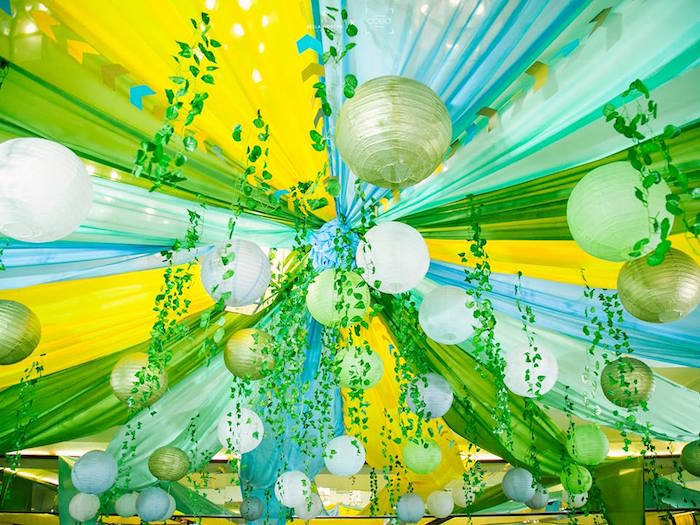 "Jungle-inspired Ceilingscape from a ""Where the Wild Things Are"" Birthday Party on Kara's Party Ideas 
