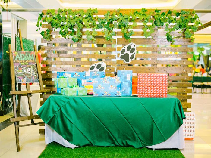"Jungle Gift Table from a ""Where the Wild Things Are"" Birthday Party on Kara's Party Ideas 