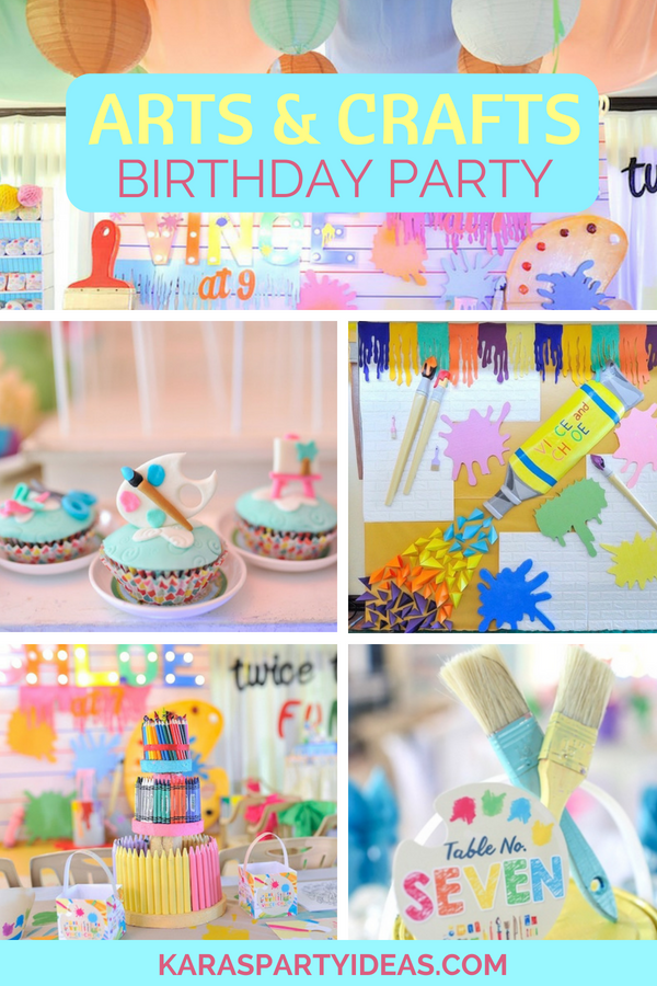 Arts _ Crafts Joint Birthday Party via Kara_s Party Ideas - KarasPartyIdeas.com