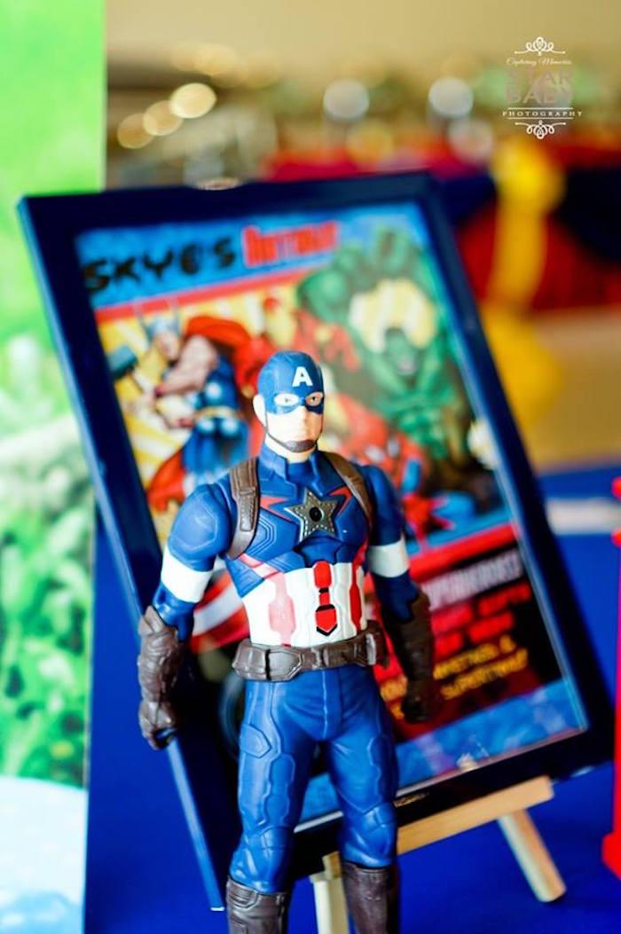 Captain America Figurine + Prop from an Avengers Superhero Birthday Party on Kara's Party Ideas | KarasPartyIdeas.com (16)