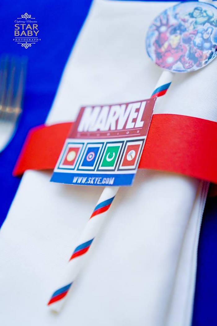 Marvel Utensil Pack from an Avengers Superhero Birthday Party on Kara's Party Ideas | KarasPartyIdeas.com (12)