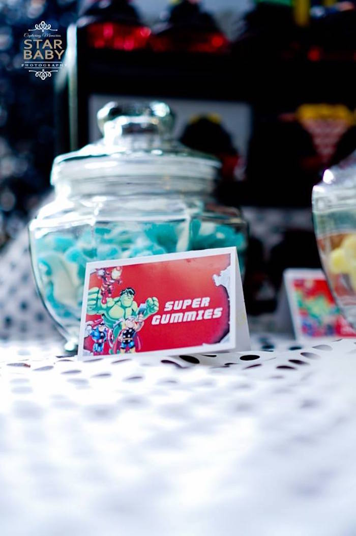 Superhero Gummies from an Avengers Superhero Birthday Party on Kara's Party Ideas | KarasPartyIdeas.com (8)