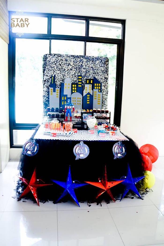 Avengers Themed Dessert Table from an Avengers Superhero Birthday Party on Kara's Party Ideas | KarasPartyIdeas.com (7)