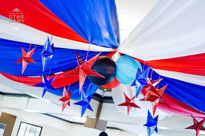 Patriotic Star Ceiling from an Avengers Superhero Birthday Party on Kara's Party Ideas | KarasPartyIdeas.com (24)