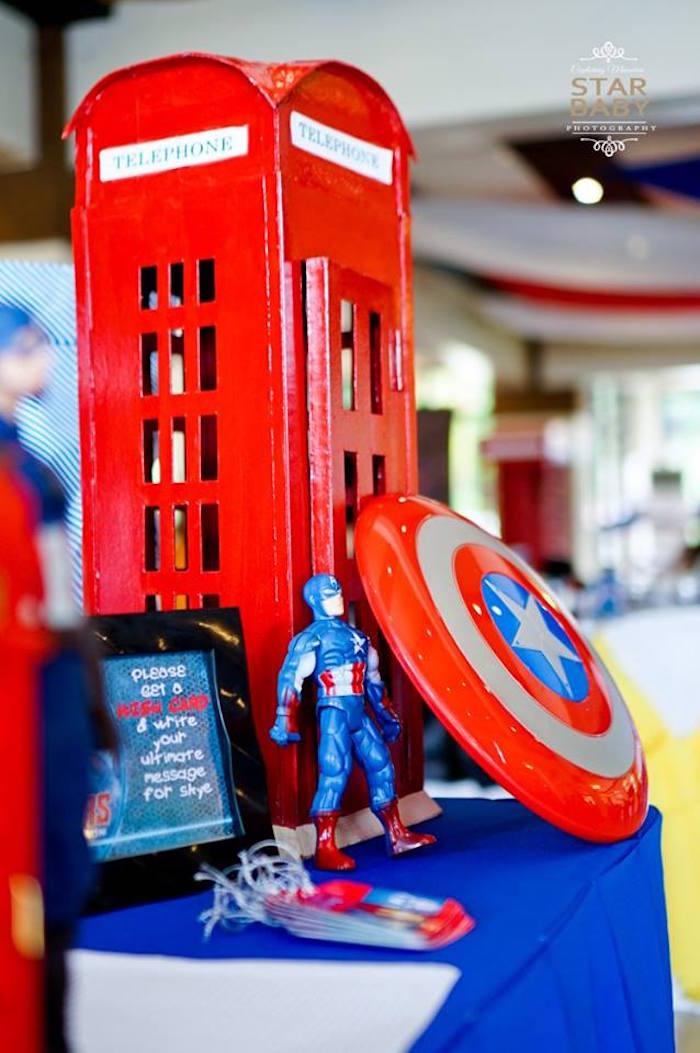 Captain America Welcome Table from an Avengers Superhero Birthday Party on Kara's Party Ideas | KarasPartyIdeas.com (23)