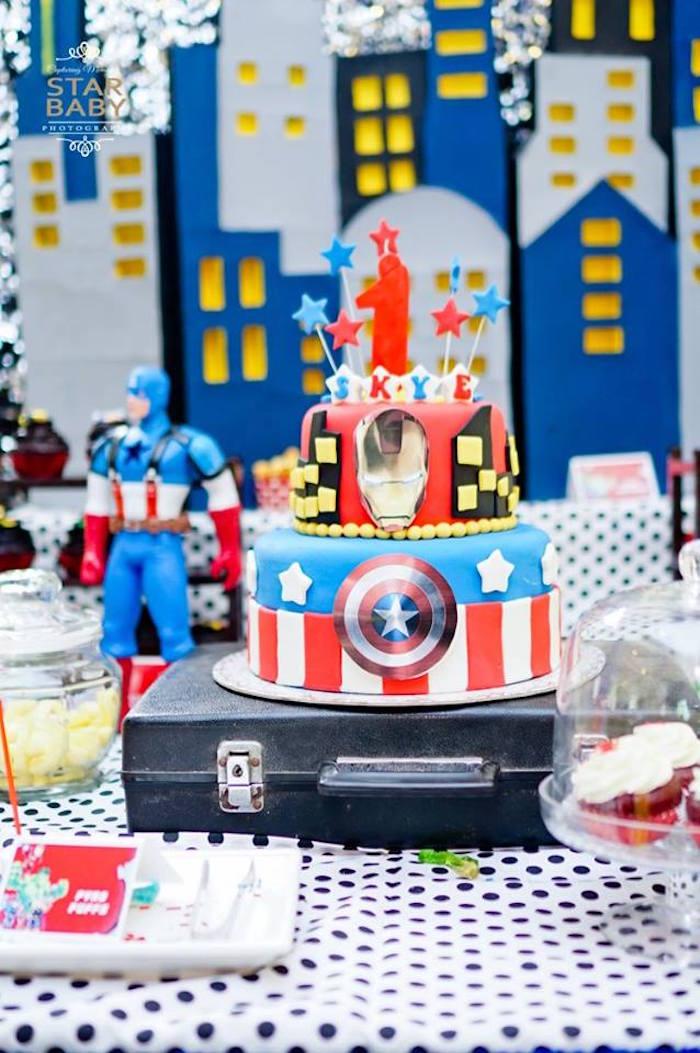Avengers Cake from an Avengers Superhero Birthday Party on Kara's Party Ideas | KarasPartyIdeas.com (21)