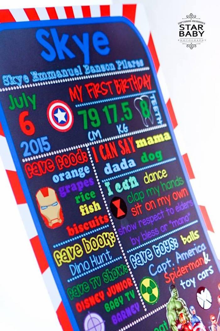 Avengers-inspired Milestone Board from an Avengers Superhero Birthday Party on Kara's Party Ideas | KarasPartyIdeas.com (20)